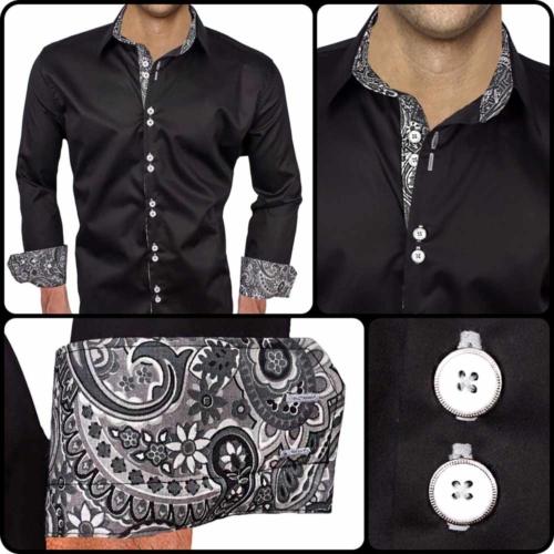 Black Grey Paisley Dress Shirts