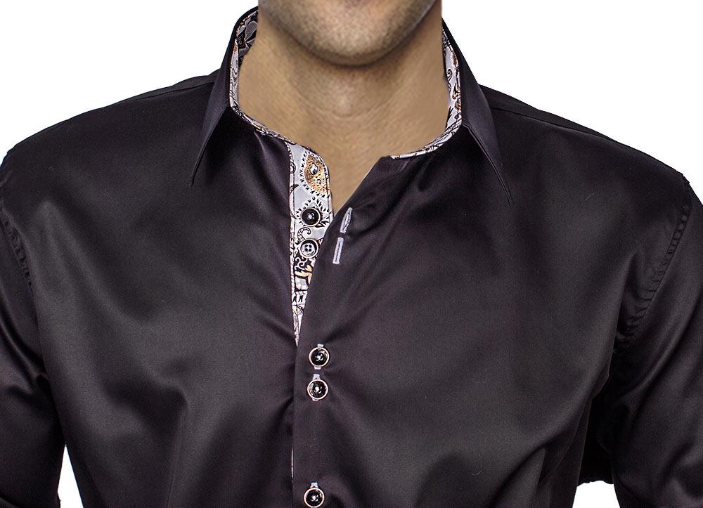 Black Silver Dress Shirts