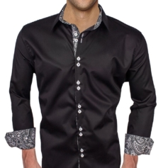 Black Grey Paisley Dress Shirts