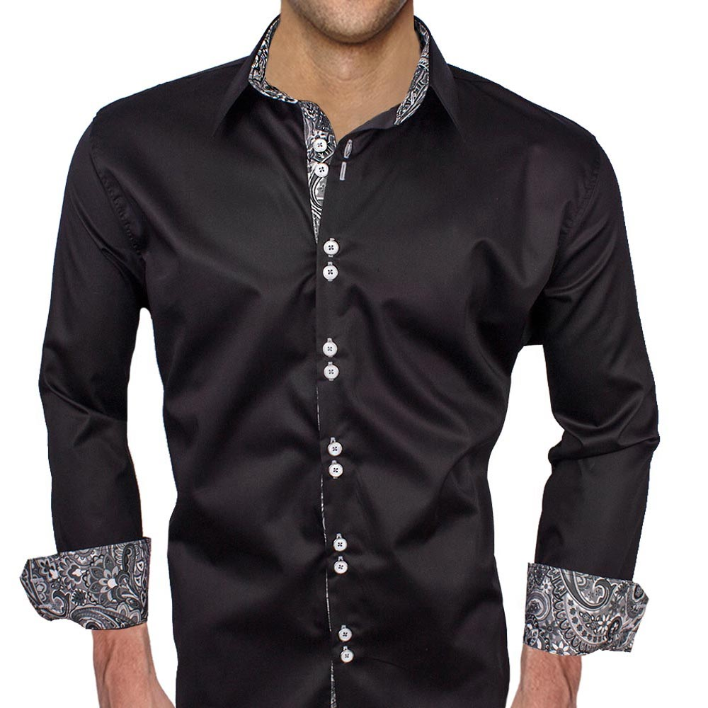 Black gray paisley dress shirts for Dark grey shirt dress