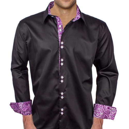 Black Purple Casual Dress Shirts