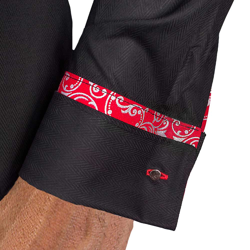 Black Red French Cuff Dress Shirt
