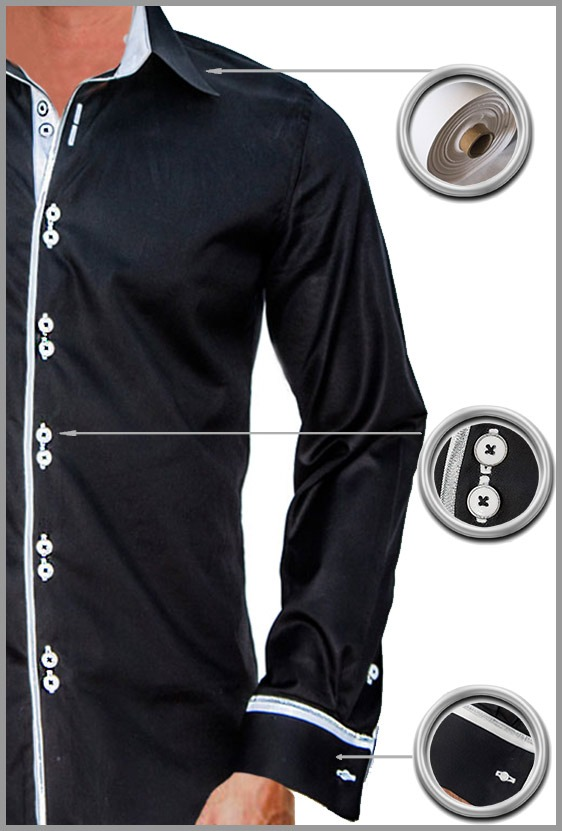 Black with White French Cuff Dress Shirts