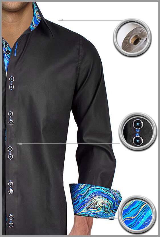 Black Blue Dress Shirts