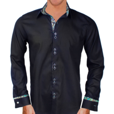 Black Green French Cuff Shirts
