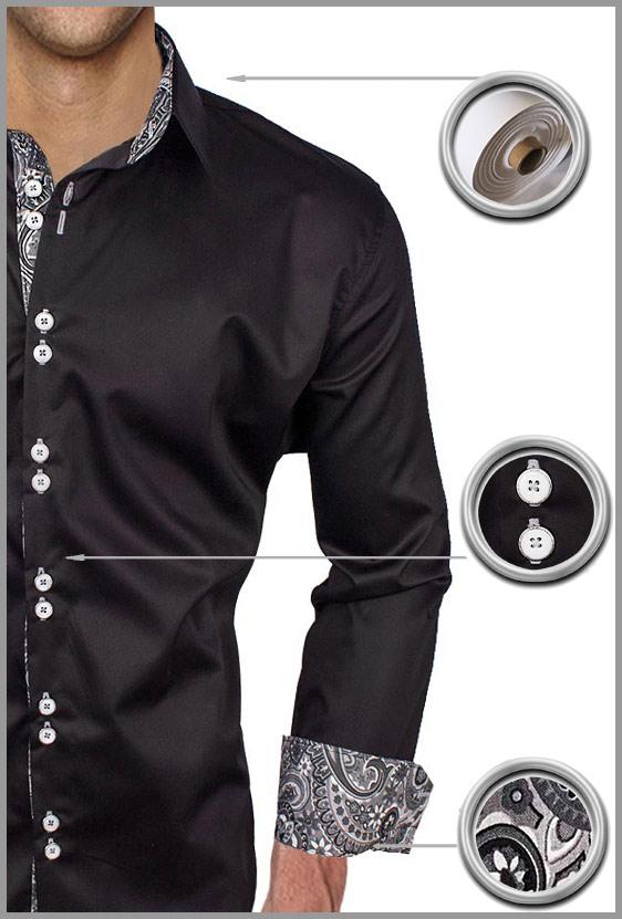 Black Gray Paisley Dress Shirts