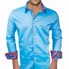 Light Blue Modern Dress Shirts