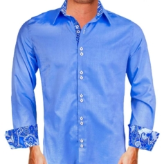 Blue Oxford Casual Dress Shirts
