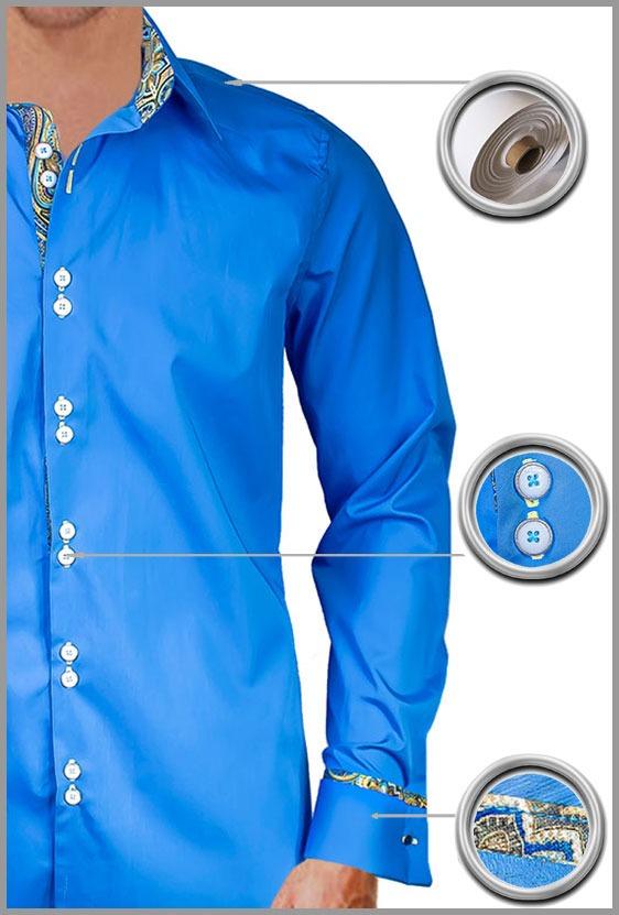 Blue Gold French Cuff Dress Shirts