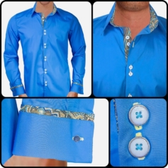 Blue Gold French Cuff Dress Shirts
