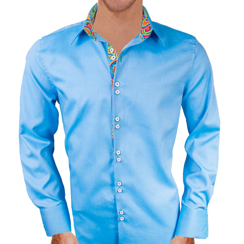 Blue Modern Dress Shirts