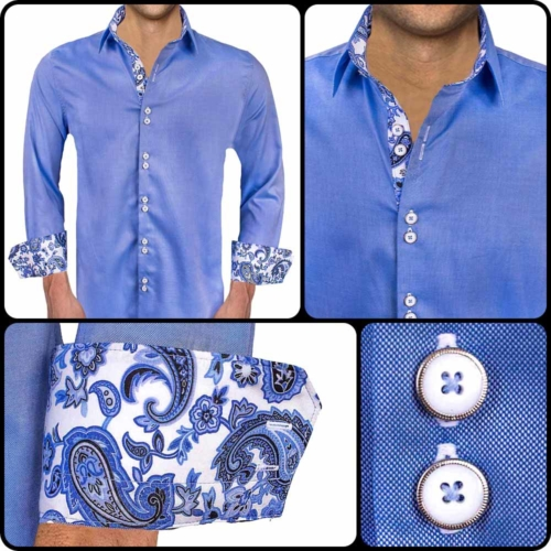 Blue Paisley Casual Dress Shirts