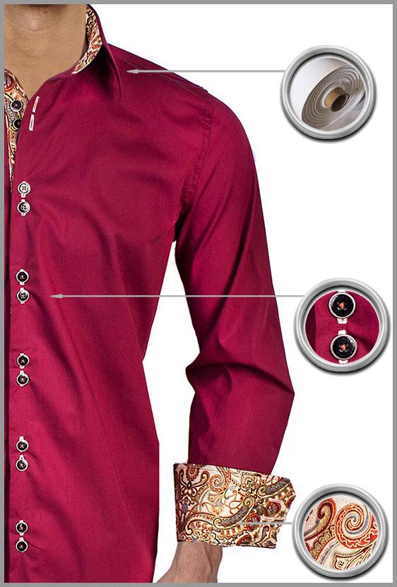 Burgundy Tan Casual Dress Shirts