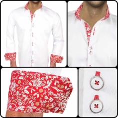 White Red Christmas Dress Shirts