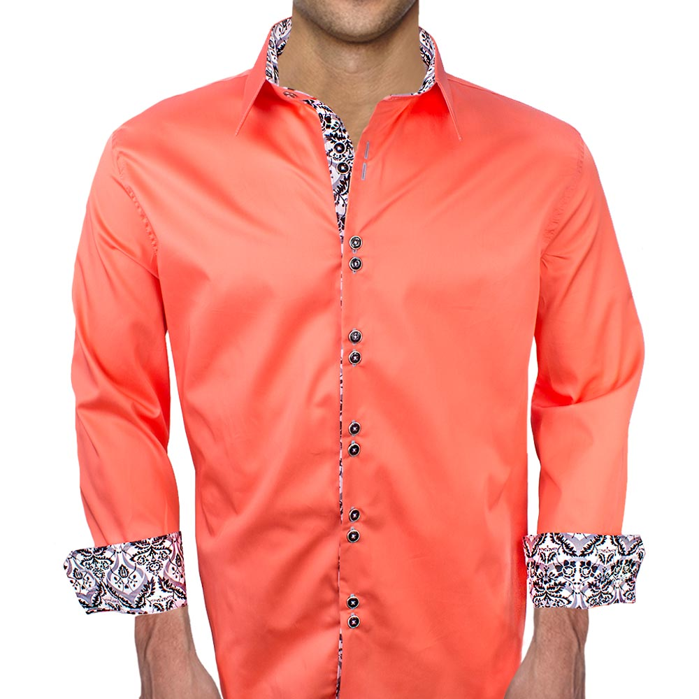 Coral Shirt Dress Casual Men's