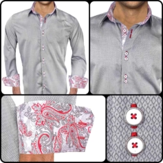 Gray Red Dress Shirts