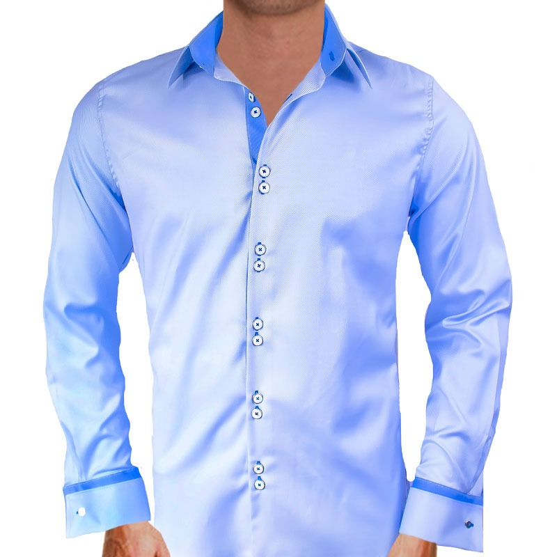 Casual Blue French Cuff Dress Shirts