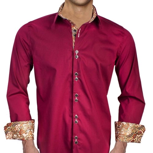 Burgundy Tan Casual Dress Shirts