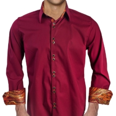 Burgundy Orange Casual Dress Shirts