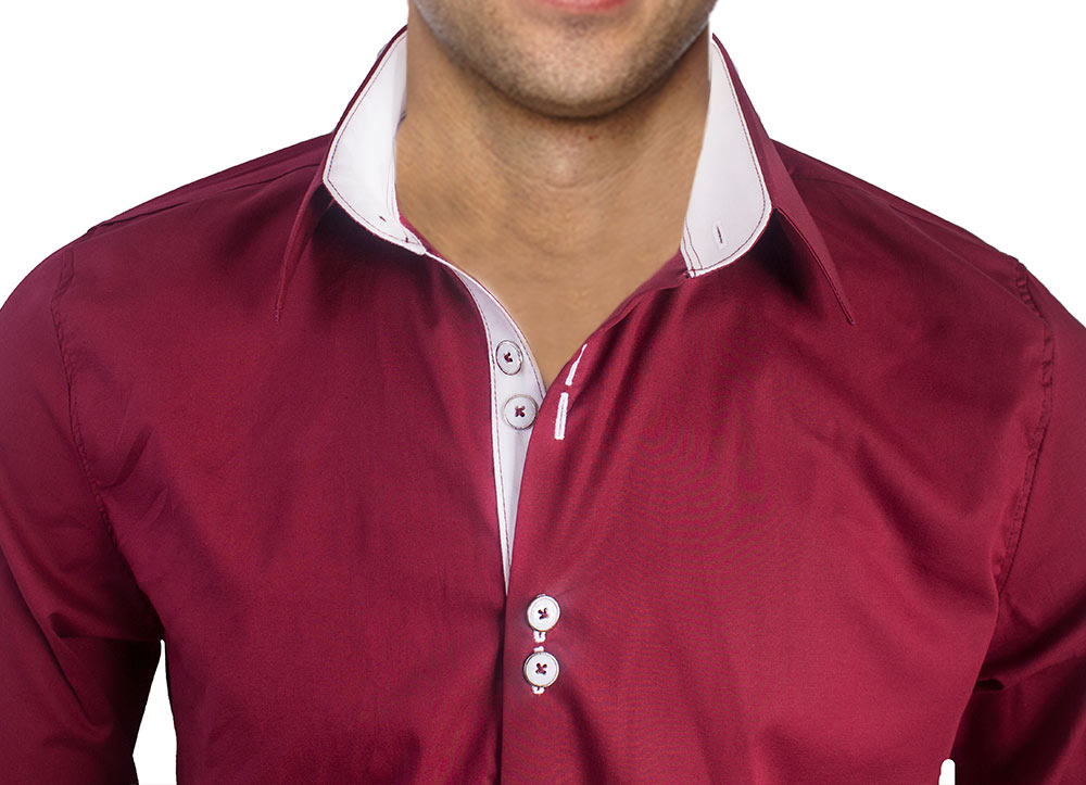 Burgundy White French Cuff Dress Shirts