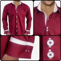 Burgundy White Dress Shirts