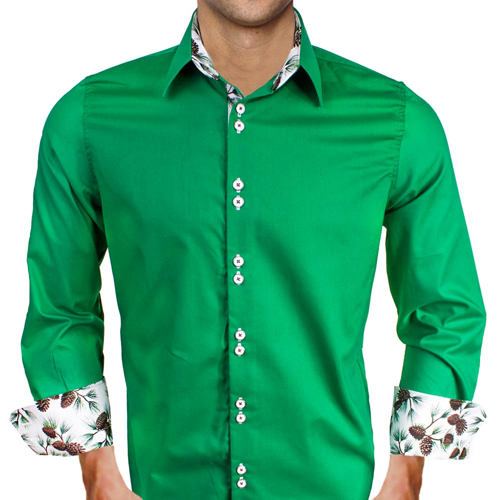Green christmas dress shirts Emerald green mens dress shirt