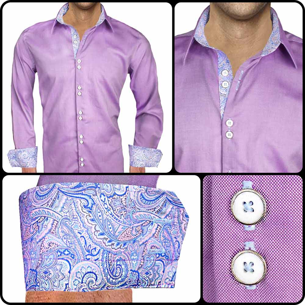 Purple Paisley Dress Shirts