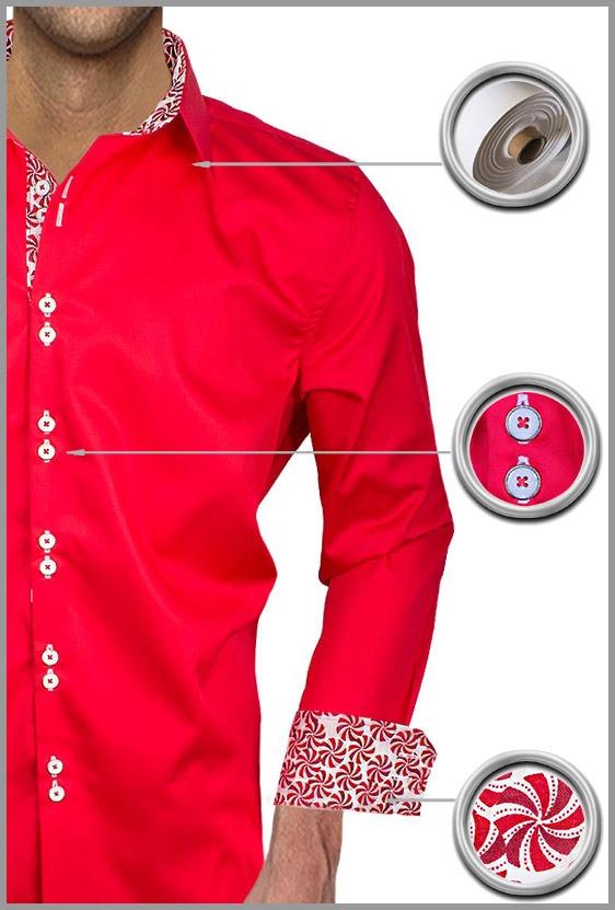 Mens Red Christmas Dress Shirts