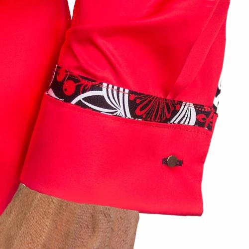 Red Black French Cuff Dress Shirts