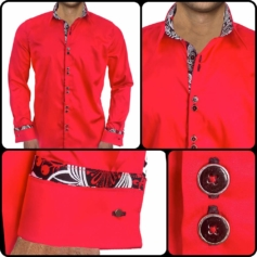 Red Black French Cuff Dress Shirts