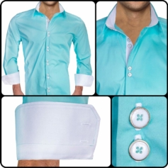 Teal White Dress Shirts