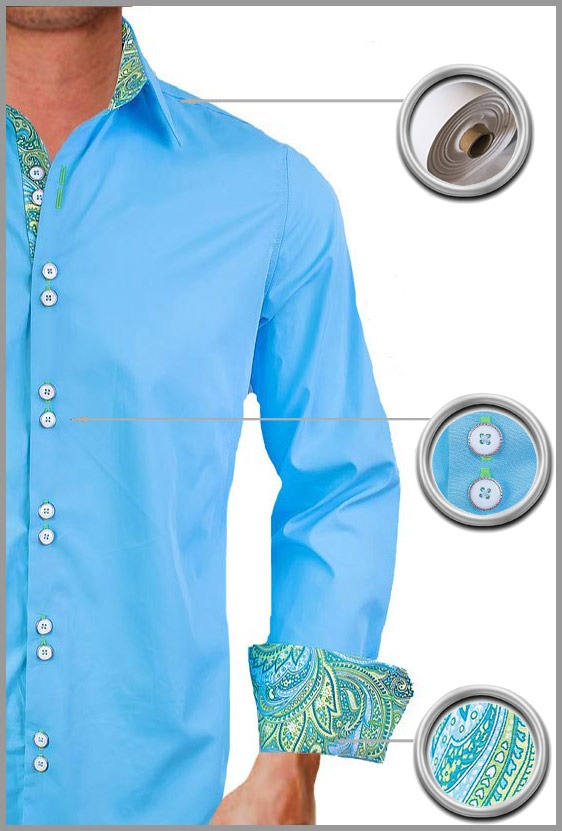 Blue Green Paisley Dress Shirts