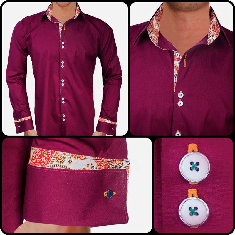 Burgundy Orange French Cuff Dress Shirts