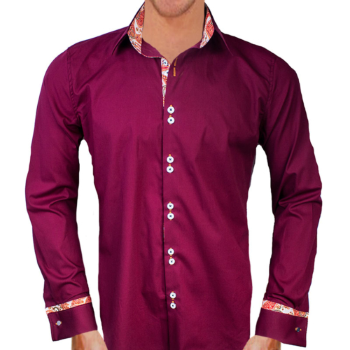 Burgundy Orange French Cuff Dress Shirts