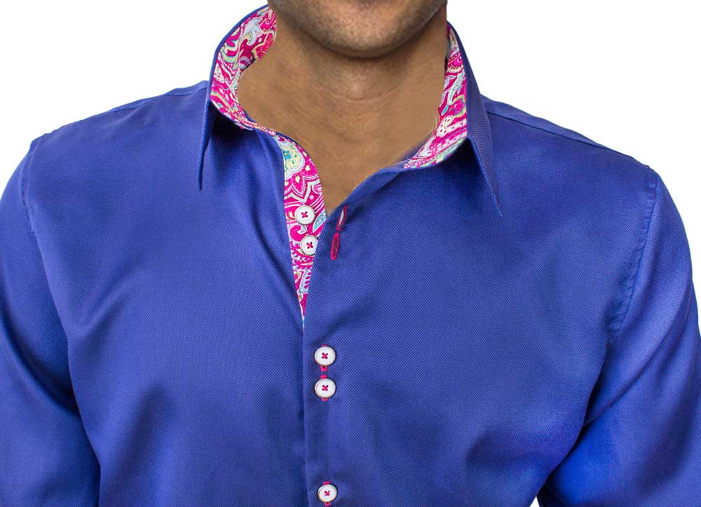 Navy Blue Pink Dress Shirts