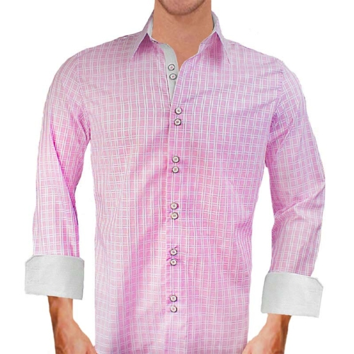 pink plaid dress shirts