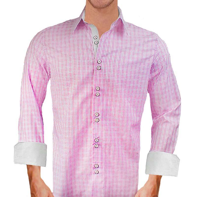 pink plaid dress shirts ForPink Checkered Dress Shirt