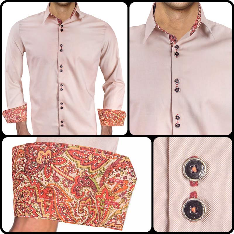 Tan Burgundy Dress Shirts