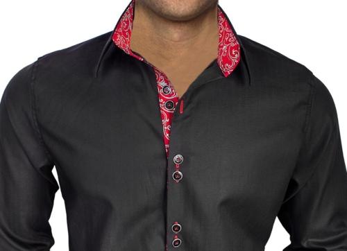 Black Red French Cuff Dress Shirts