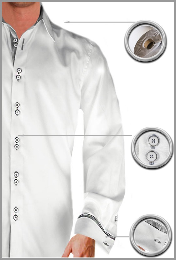 White with silver french cuff dress shirts