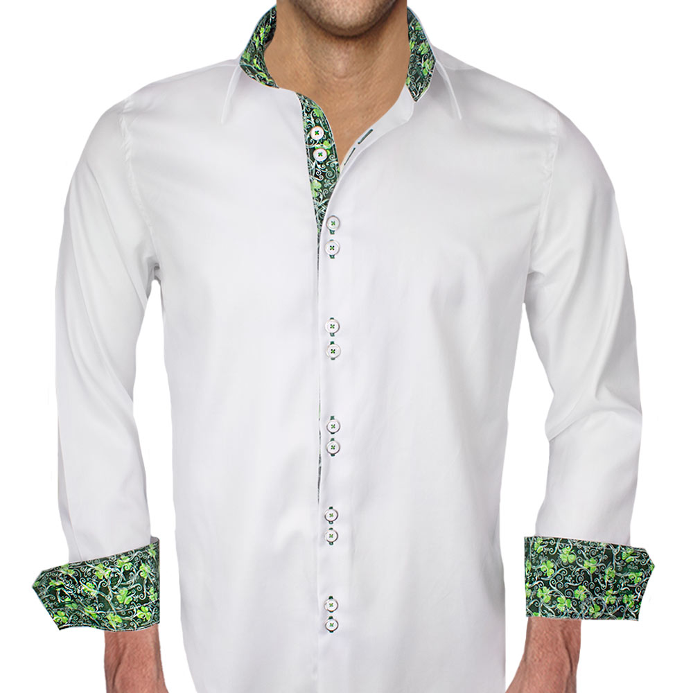 White and Green Dress Shirts