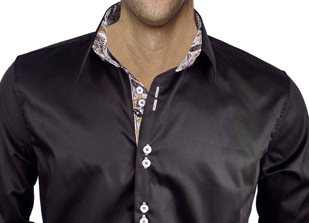 Black with Gray French Cuff Dress Shirt
