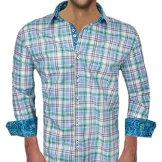 Blue Green Plaid Dress Shirts