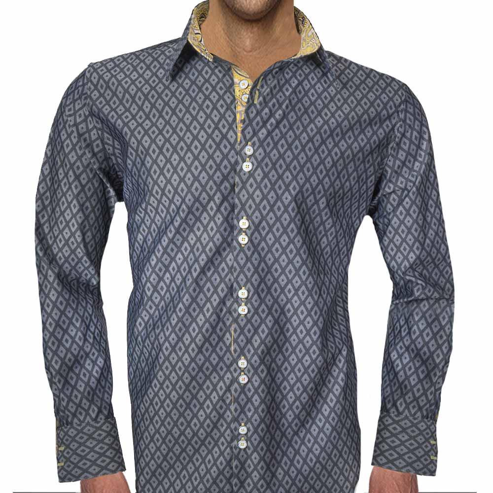 Design Dress Shirts | Gray And Yellow Dress Shirts