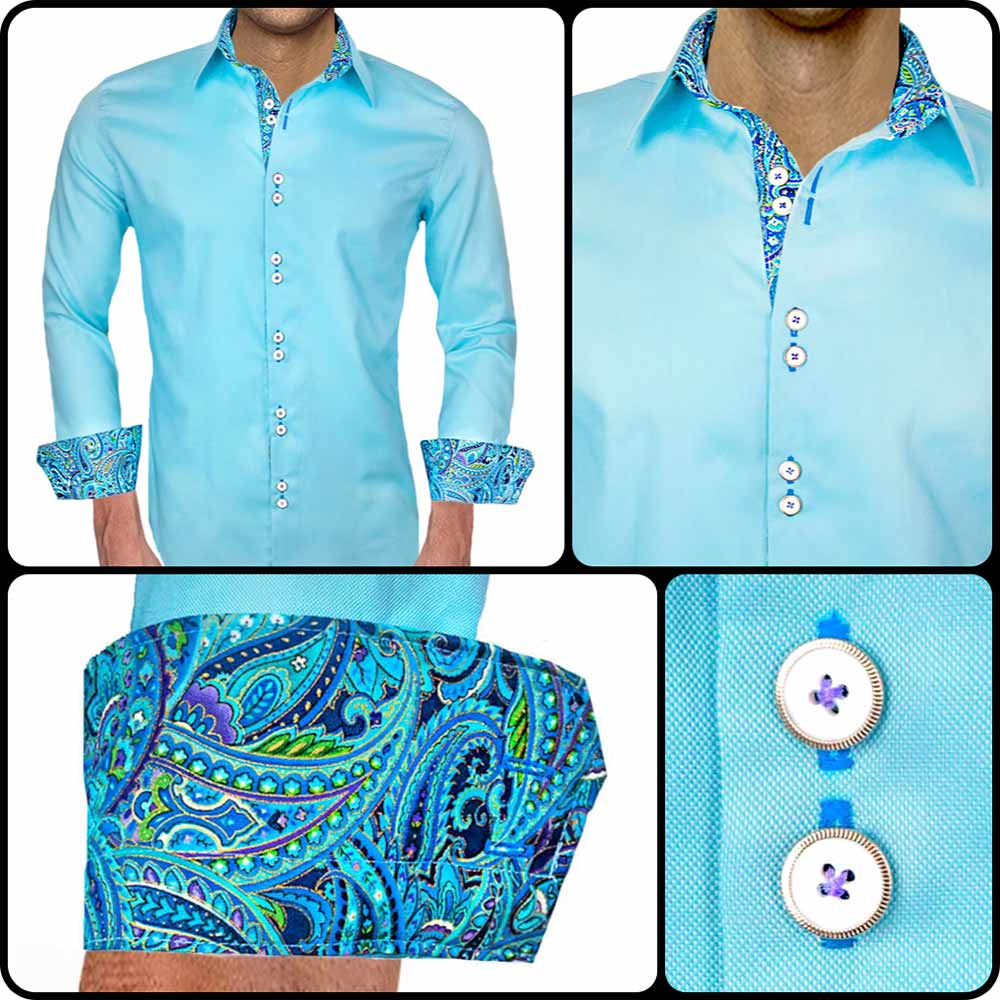Light Blue Paisley Dress Shirts