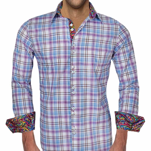 Multicolored Plaid Dress Shirts