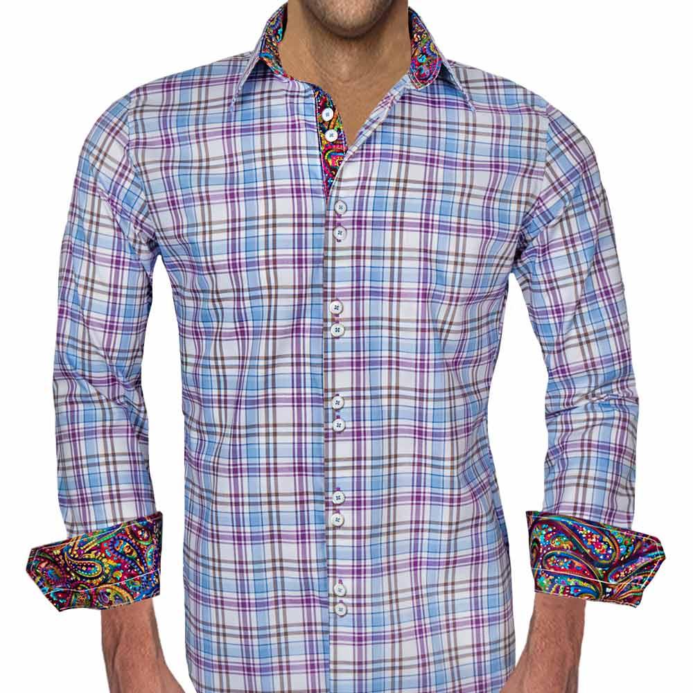 Multicolored Plaid Dress Shirts