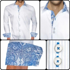 White and Blue Casual Shirts