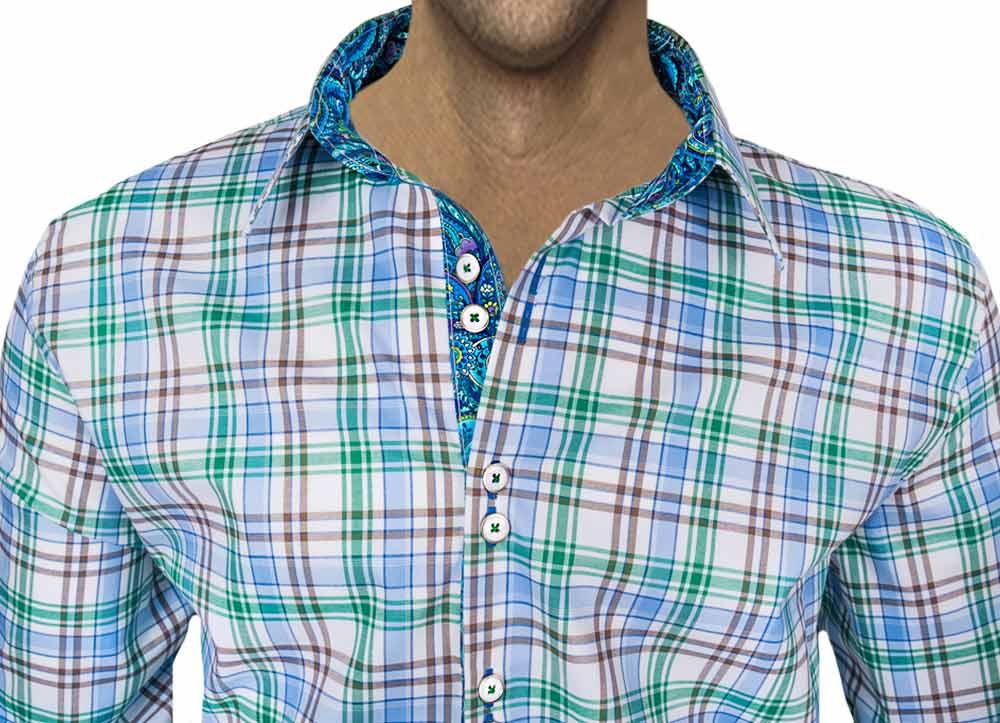 Blue Green Plaid Dress Shirts