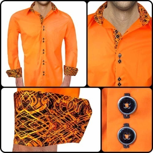 Orange and Black Dress Shirt